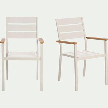 Chaise de jardin empilable avec accoudoirs en aluminium gris borie-ALEP