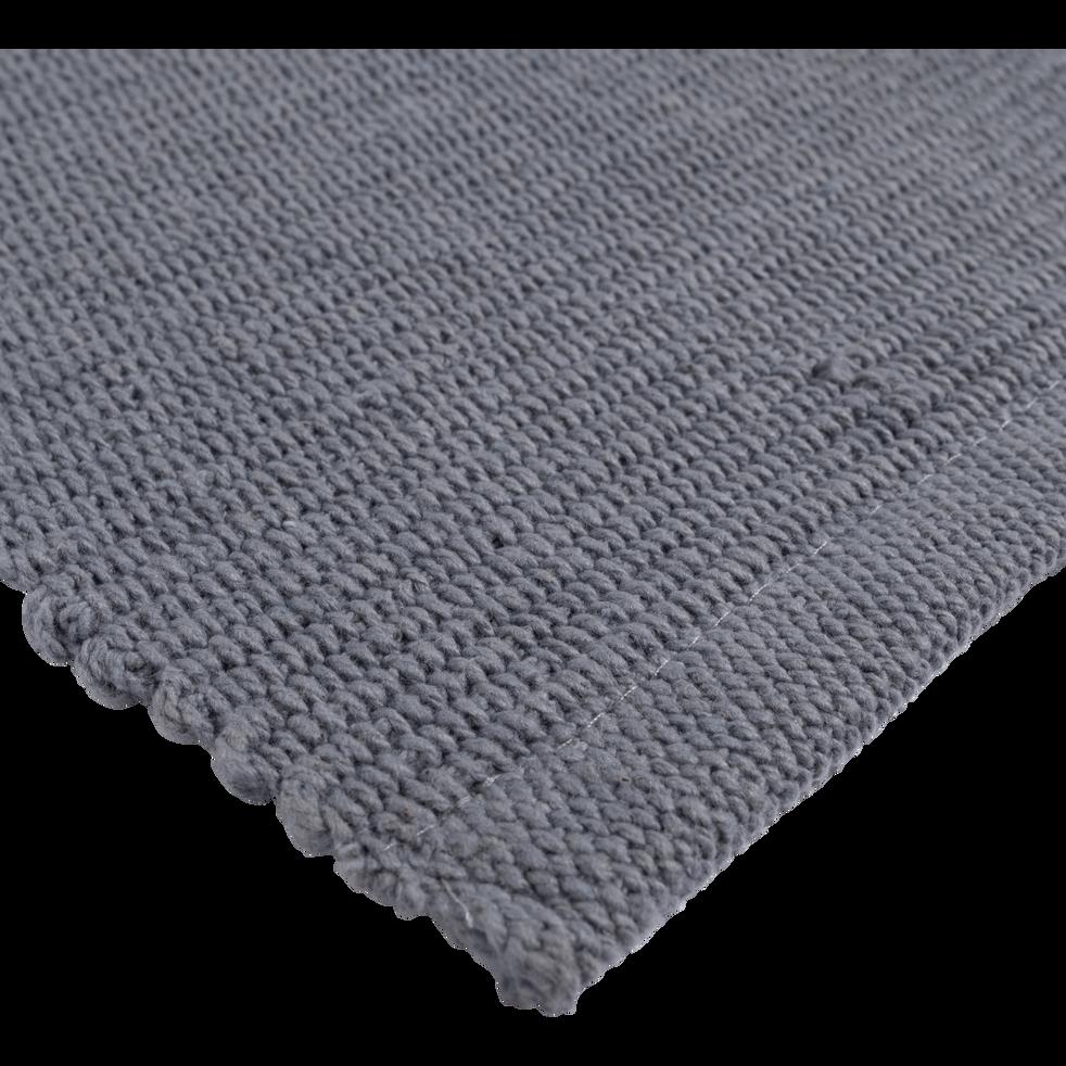 Descente de lit en coton gris restanque-CAMELIA