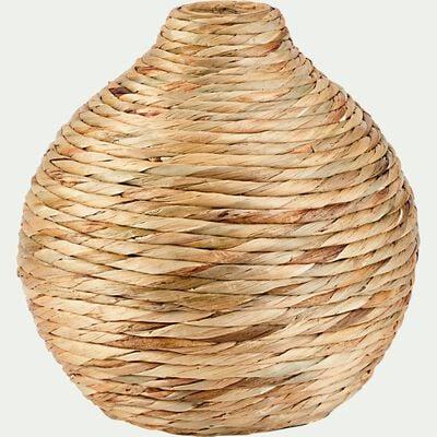 Vase rond tressé en jacinthe d'eau - naturel D35cm-HUELVA