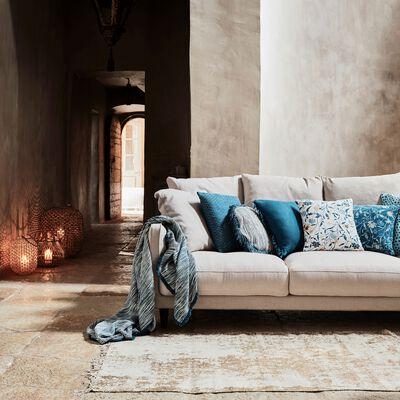 Canapé 5 places fixe en tissu beige roucas-LENITA