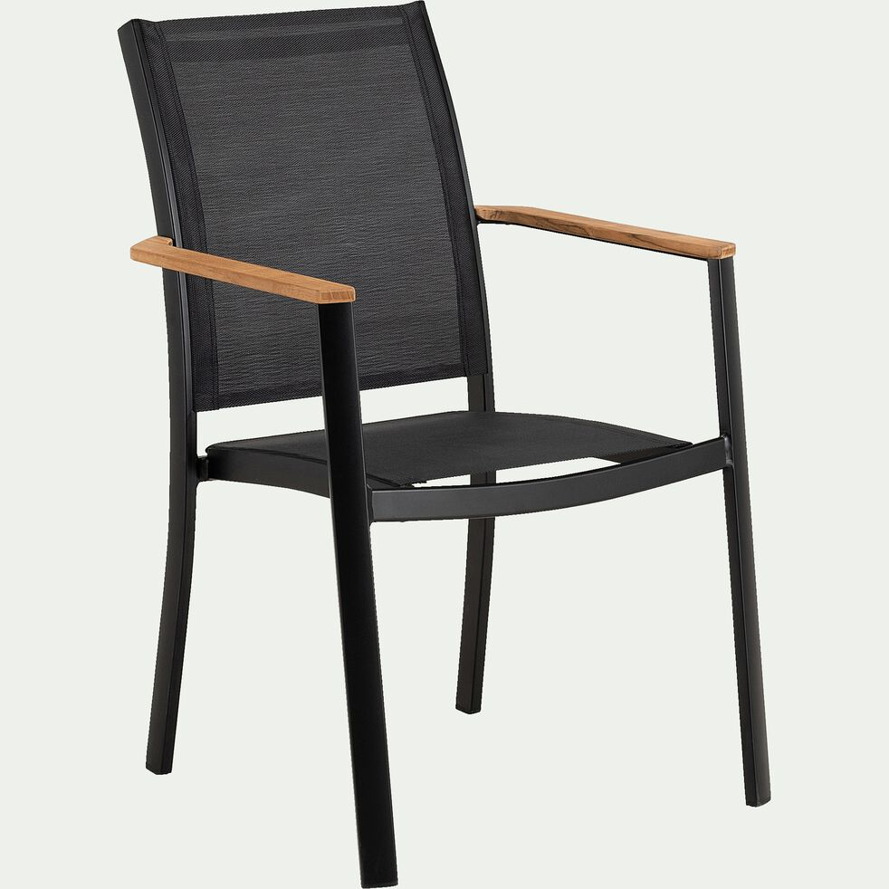 Chaise de jardin avec accoudoirs en aluminium et textilène - noir-MASSIMO