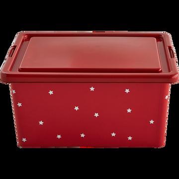 Boîte de rangement rouge à étoiles avec couvercle 13L enfant-ETOILE