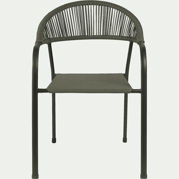 Chaise de jardin en acier avec accoudoirs vert cèdre-JADIDA
