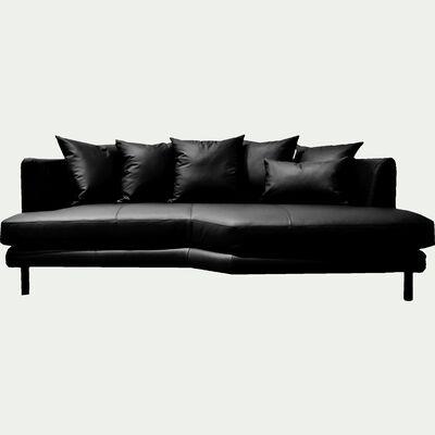 Canapé 3 places fixe droit en cuir noir calabrun-TESSOUN