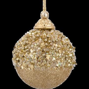 Boule de Noël en verre doré D8,3cm-ISEPA