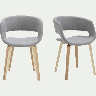 Chaise en tissu avec accoudoirs - gris-JOYAU