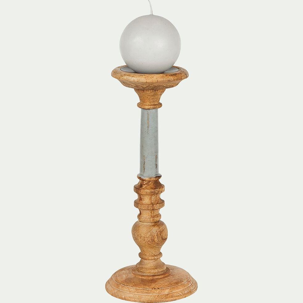 Bougeoir en bois gris H30cm-Inari