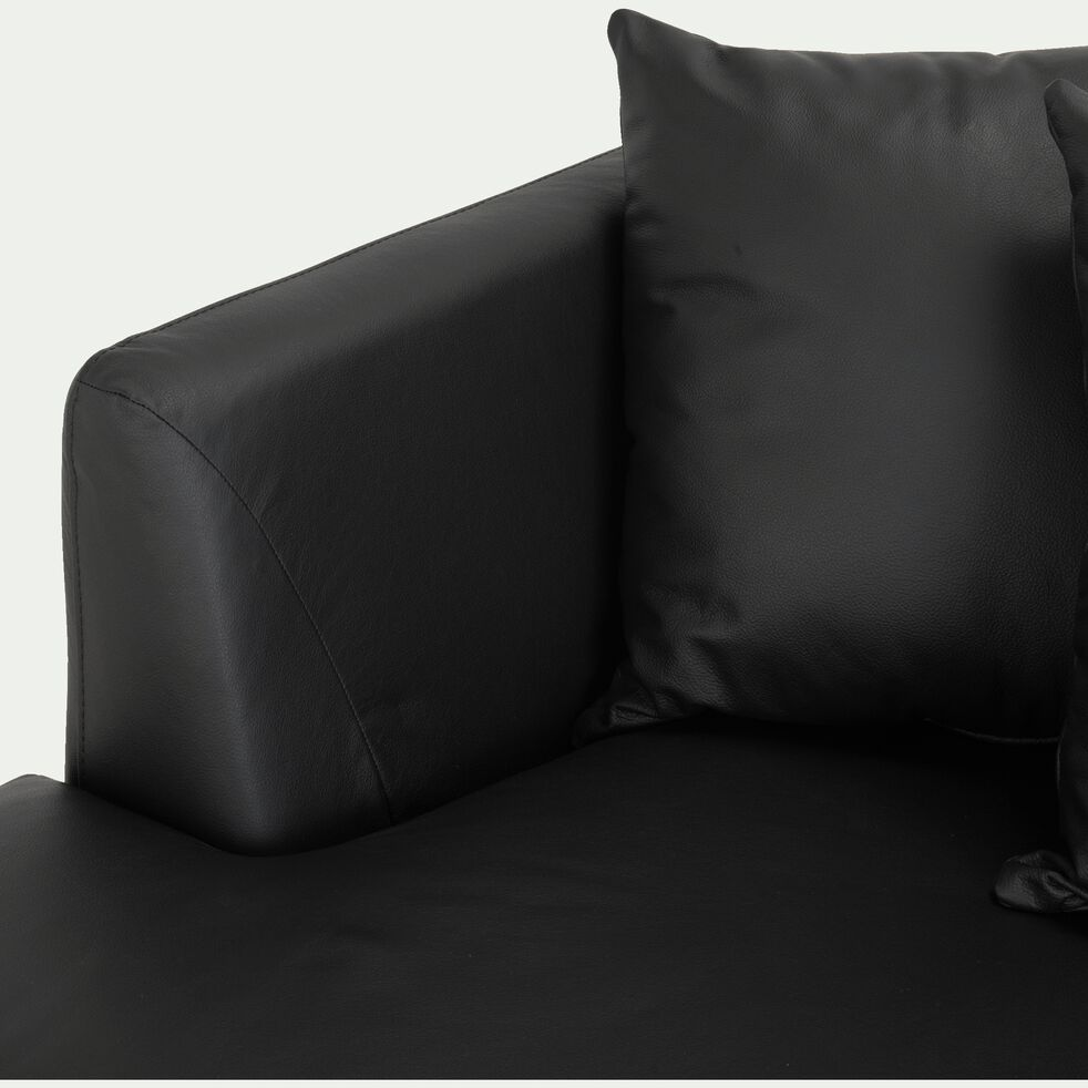 Canapé 5 places fixe gauche en cuir noir calabrun-TESSOUN