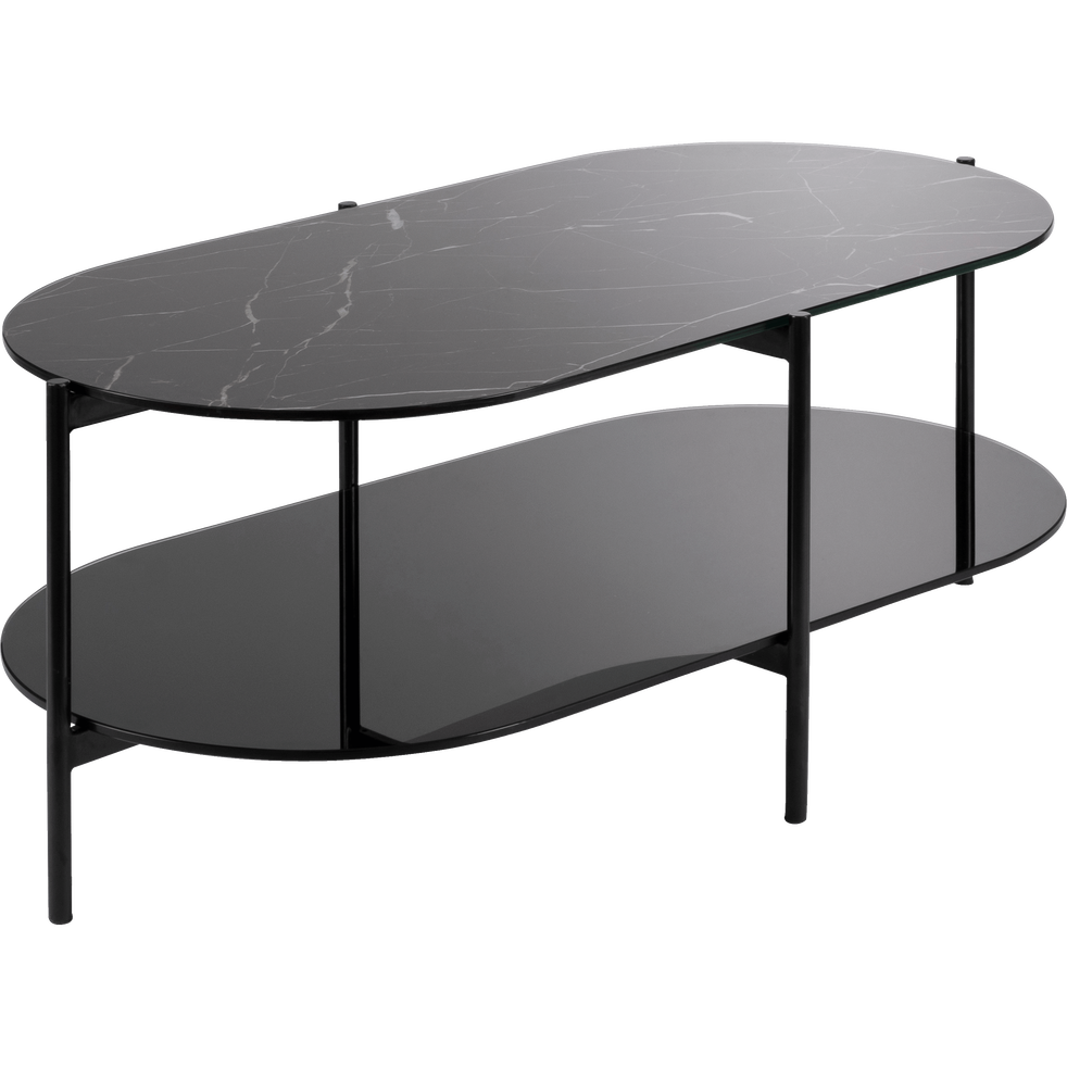 Ovale Table Effet Marbre Verre Guiero Noir En Basse n0OPkw