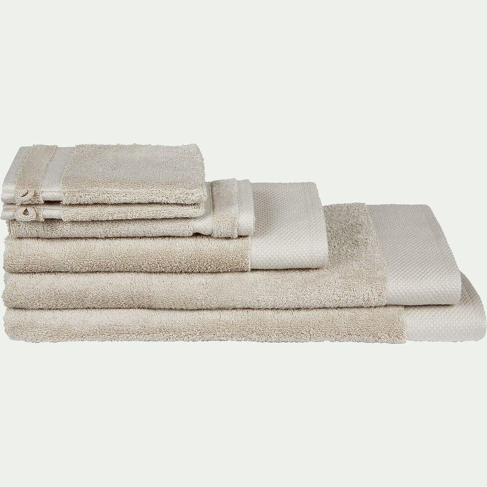 Linge de toilette en coton peigné- beige alpille-AZUR
