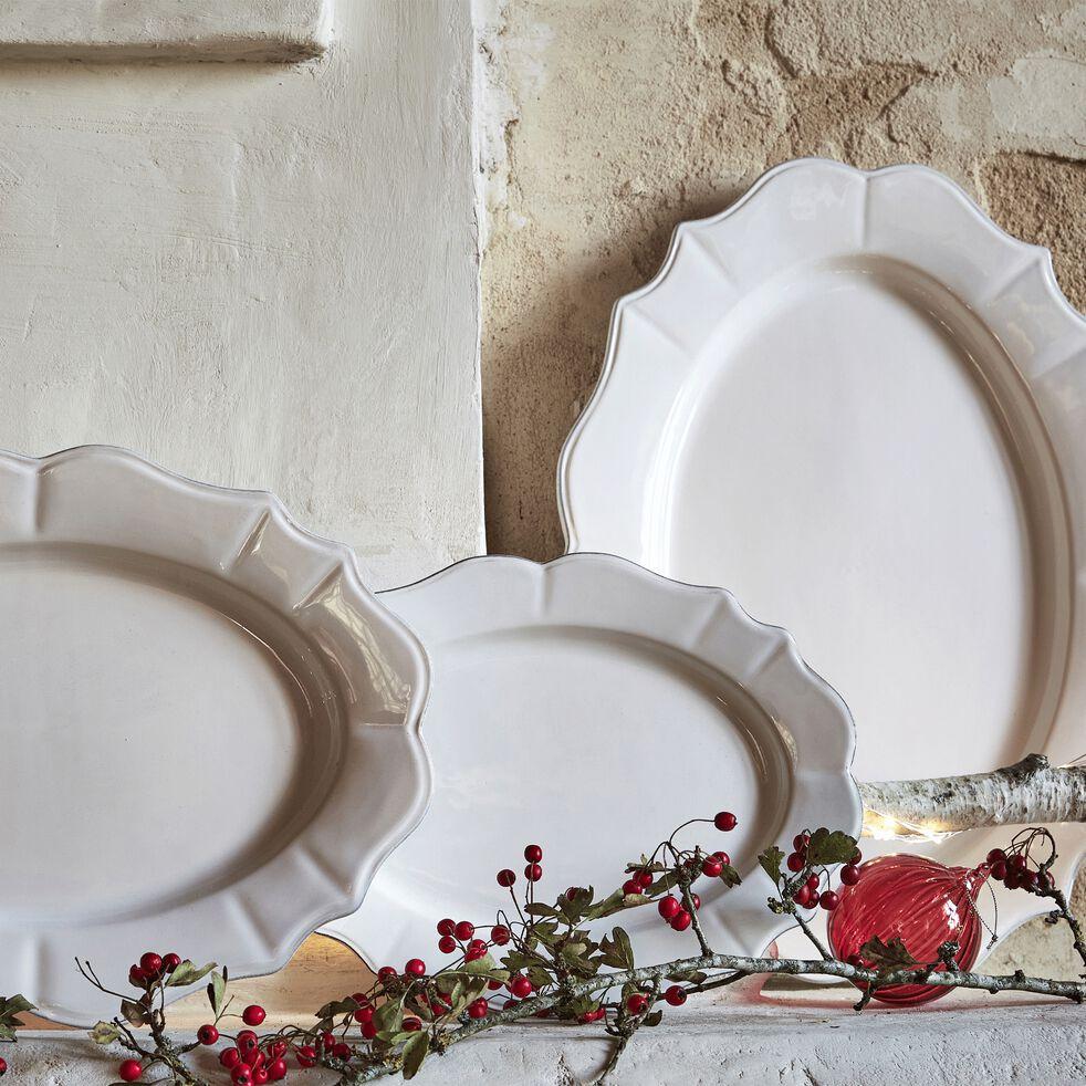 Assiette de présentation en faïence ovale L50xl37cm - blanc-LISE