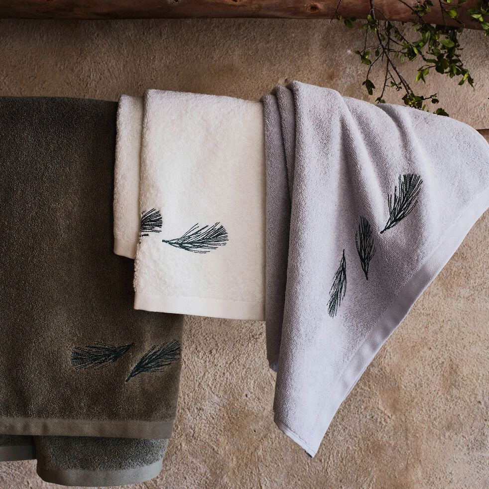 Lot de 2 gants de toilette brodés en coton bouclette - vert olivier-AMBIN