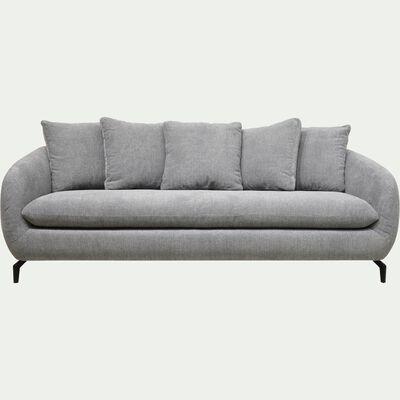Canapé fixe 4 places en tissu tramé piétement noir - gris ardoise-COLINE