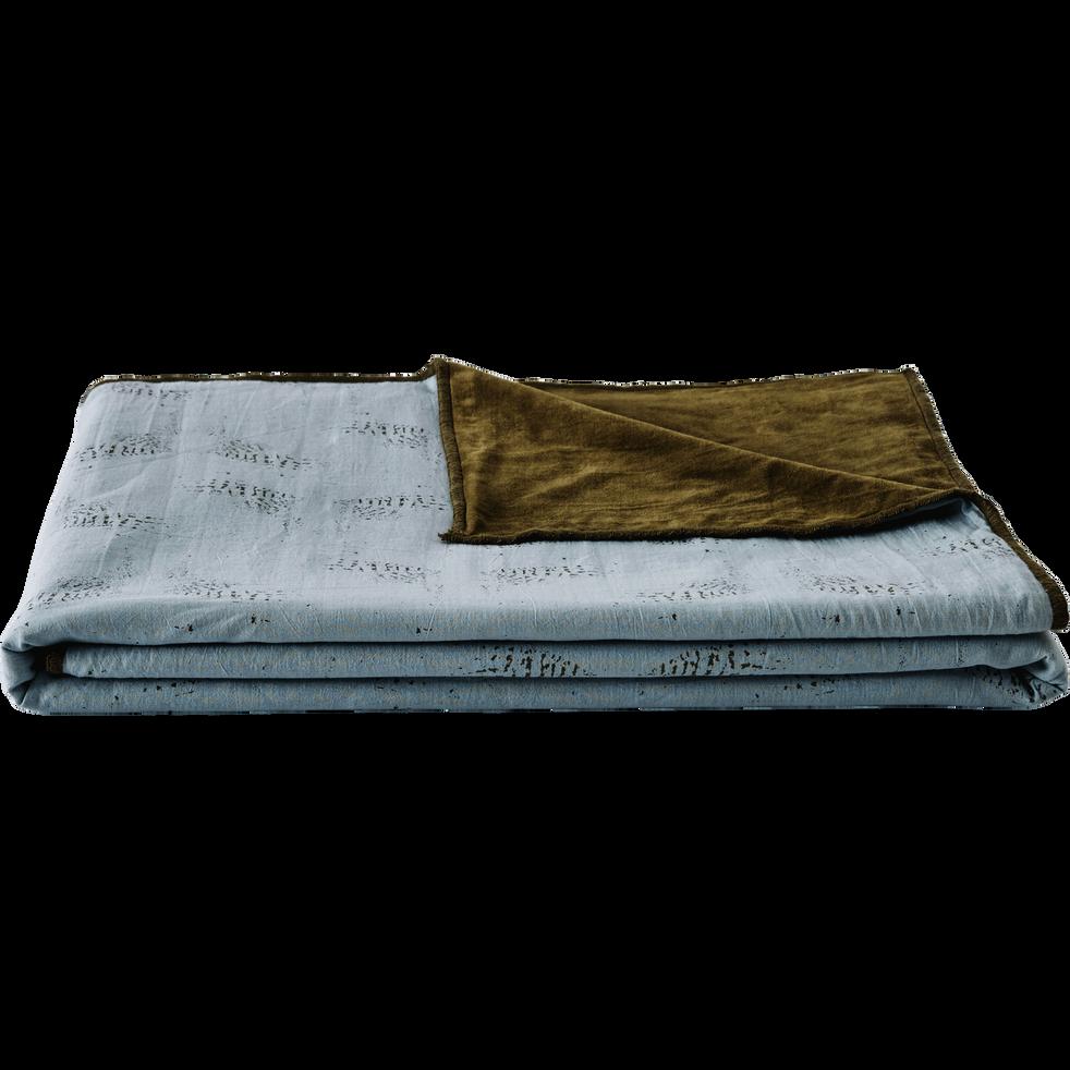 Plaid réversible velours et imprimé bleu et vert 130x150cm-ATOSIA