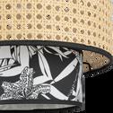 Abat-jour en cannage et motif noir et blanc D30cm-INK
