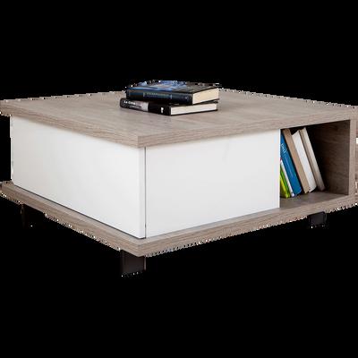 Table basse avec tiroir de rangement et niche traversante-ENZO
