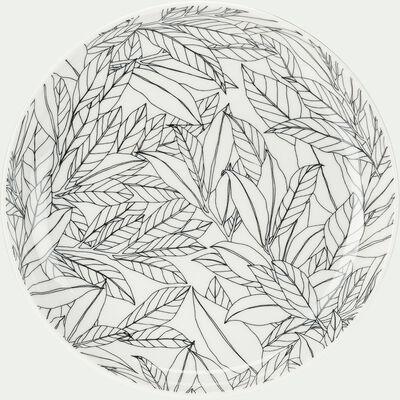Assiette à dessert en porcelaine motifs laurier - vert D20cm-AIX