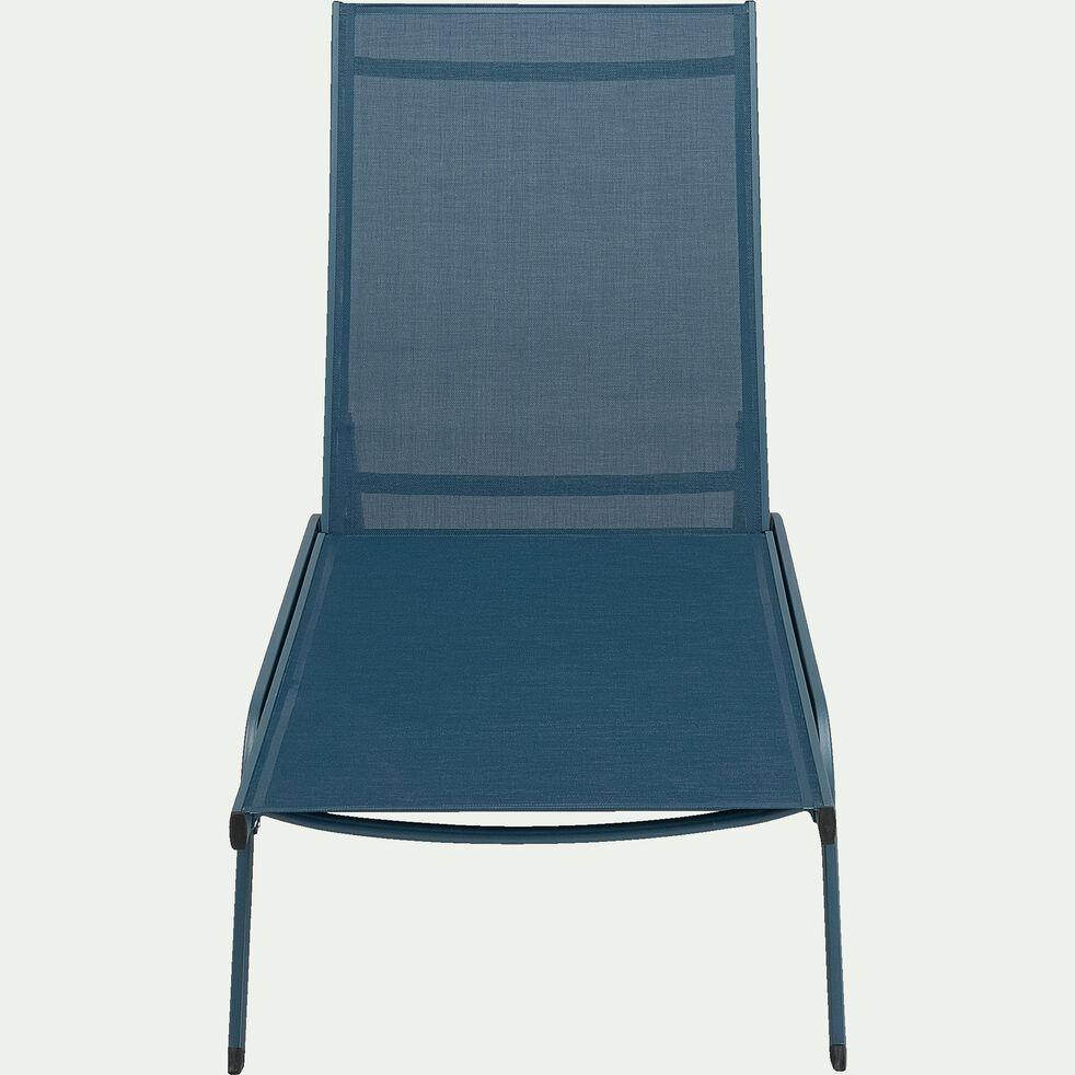 Bain de soleil en aluminium et textilène - bleu figuerolles-MEGUI