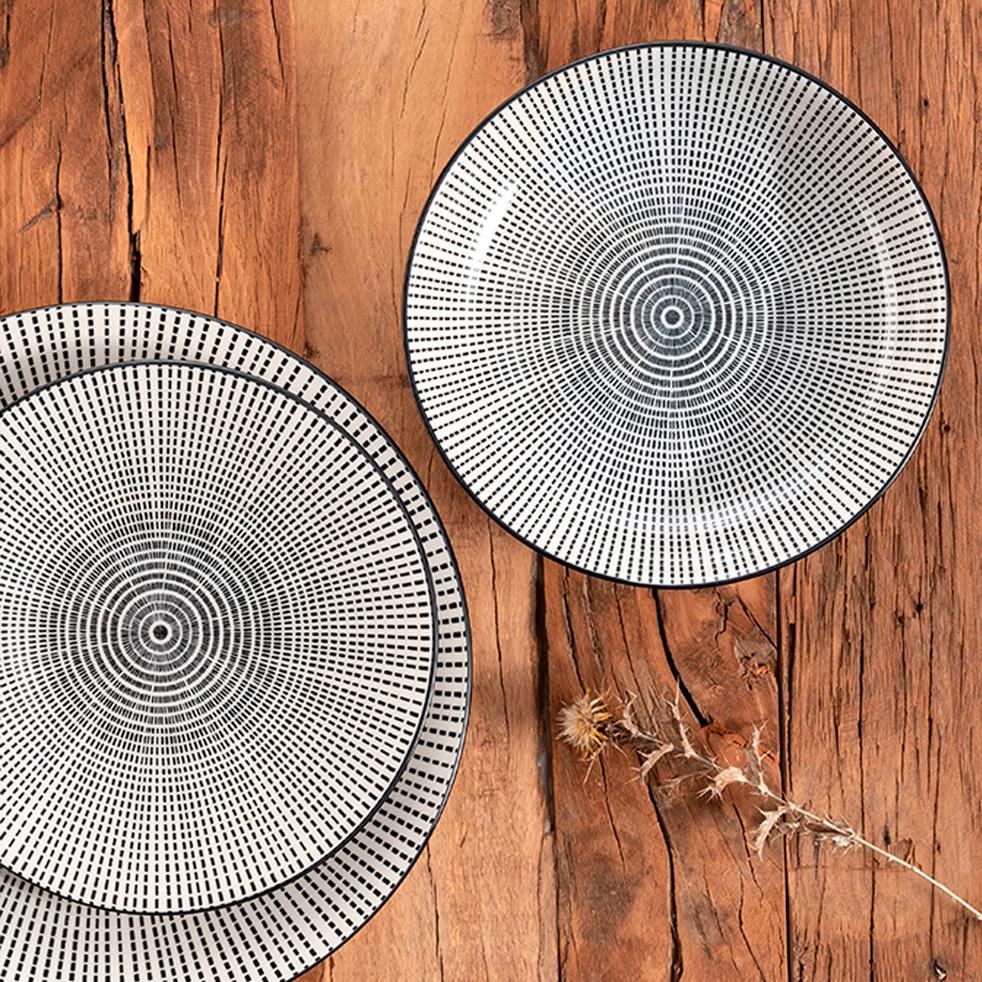 assiette plate en gr s mandala assiettes plates alinea. Black Bedroom Furniture Sets. Home Design Ideas