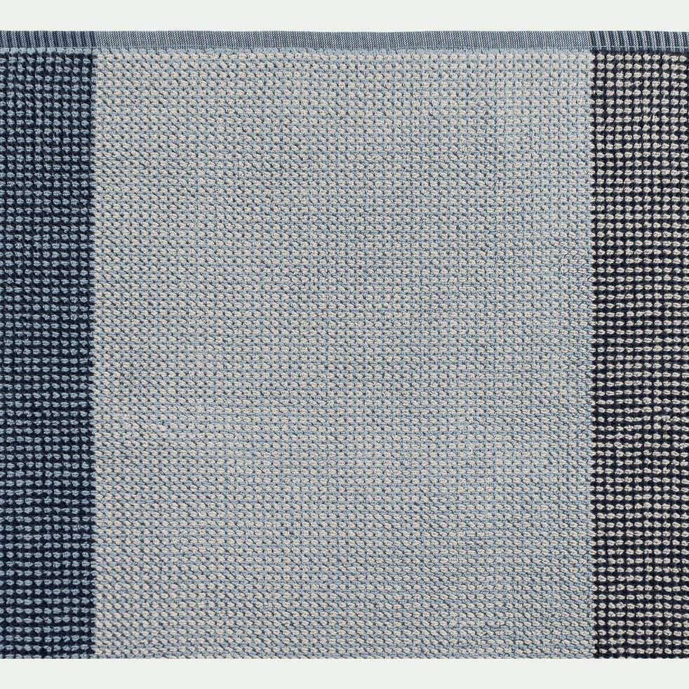 Drap de douche bouclette jacquard en coton - bleu 70x140cm-HUGO