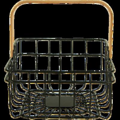Panier carré en métal noir avec poignée-RABIOU