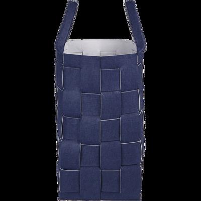 Panier à linge en feutrine Bleu myrte-BRATELO