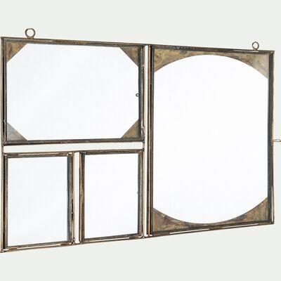 Pêle-mêle mural de 4 photos en verre et fer - doré 27x40cm-PRATEET