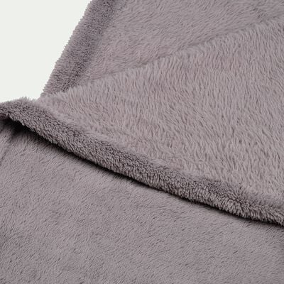 Plaid effet polaire - gris restanque 130x170cm-ROBIN
