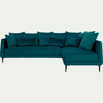 Canapé d'angle fixe droit en tissu - bleu niolon-ASTELLO