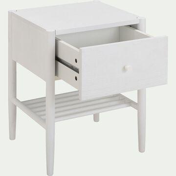 Table de chevet en bois avec tiroir - H55xL40xl45cm blanc-PRADO