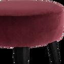 Pouf en velours bordeaux sumac-PLUME