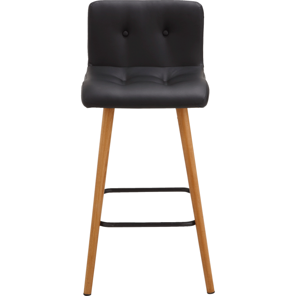 tabouret plan de travail en simili noir h66cm frida. Black Bedroom Furniture Sets. Home Design Ideas
