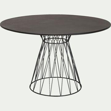 Table de jardin ronde - gris foncé (6 places)-Belinda