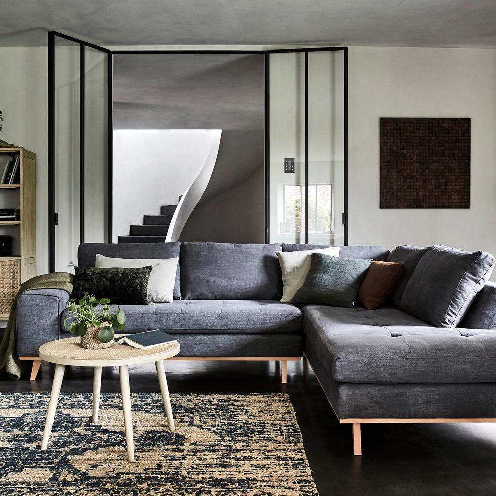 canap d 39 angle fixe droit en tissu anthracite picabia. Black Bedroom Furniture Sets. Home Design Ideas