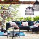 Canapé d'angle fixe droit en tissu noir calabrun-ASTELLO