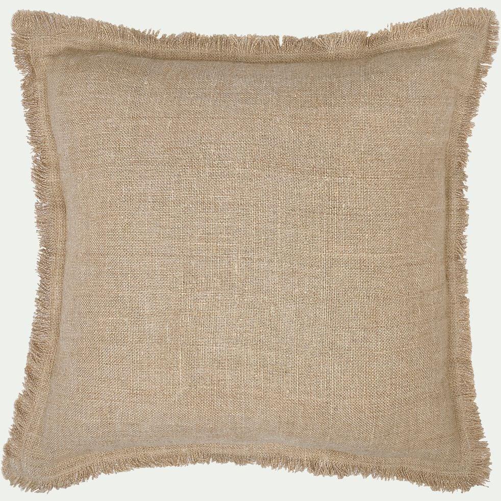 Coussin frangé en lin - naturel 45x45cm-TANTA