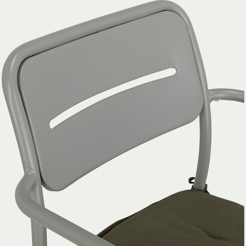 Chaise de jardin en acier avec accoudoirs - gris restanque-Inacio