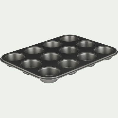 Plaque de 12 muffins en acier carbone 35cm-OLIZY