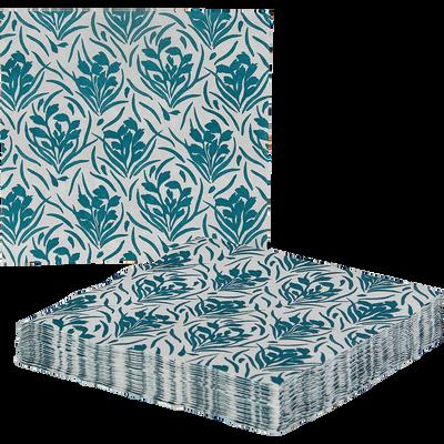 Lot de 20 serviettes en papier bleu 40x40cm-AMPHORES