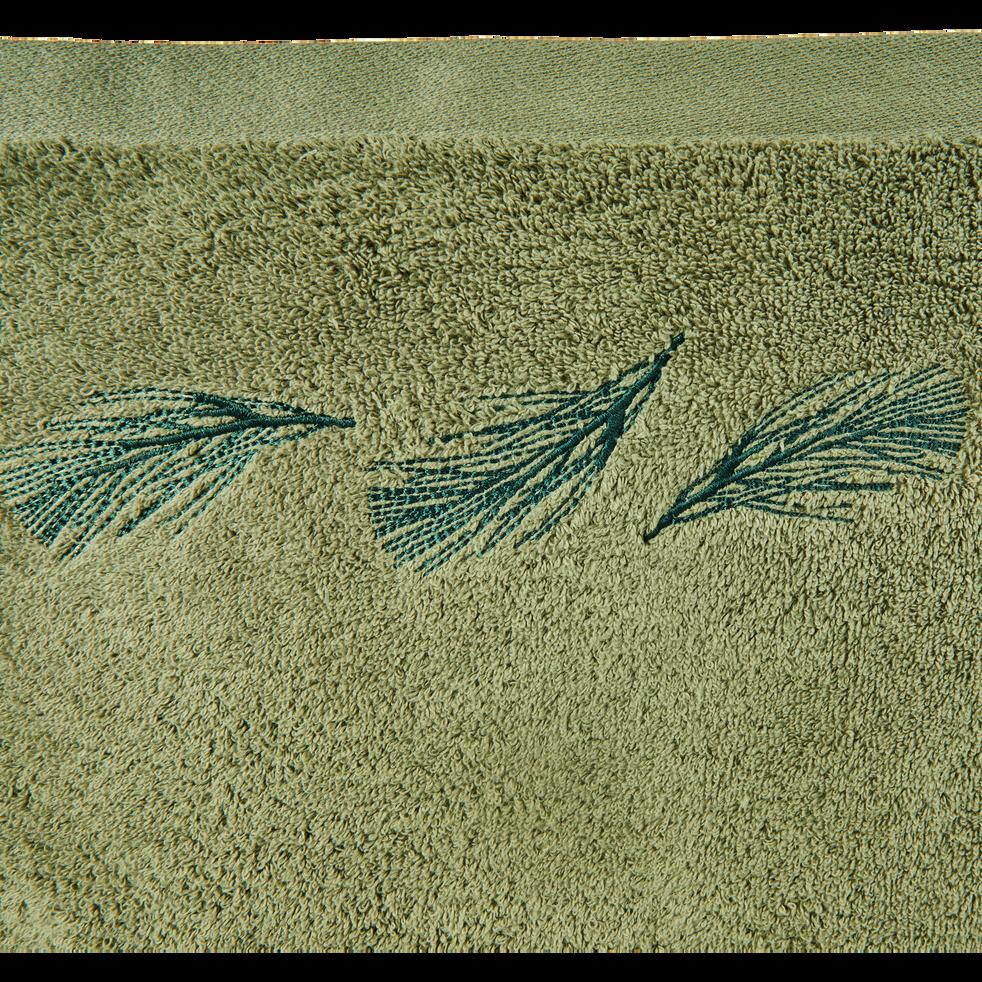 Lot de 2 gants de toilette vert olivier-AMBIN