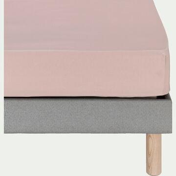 Drap housse en coton - rose rosa 90x200cm B25cm-CALANQUES