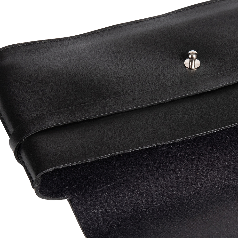 Trousse en cuir noir H11x21cm-EUGENIE