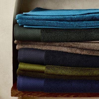 Serviette invité en coton peigné - bleu figuerolles 30x50cm-AZUR