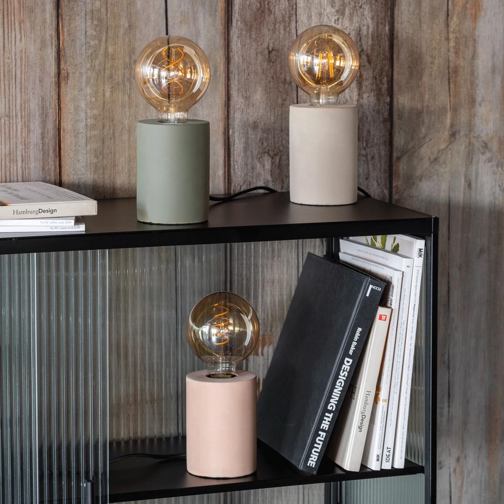 Lampe à poser en béton gris H12,5xD9cm-PRAO