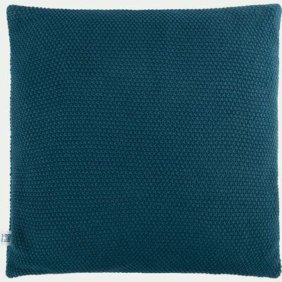 Coussin tricoté en coton bleu figuerolles 40x40cm-VERDON