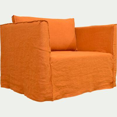 Canapé 1.5 places fixe en lin orange rustrel-VENCE