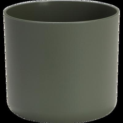 Cache-pot vert kaki en plastique H12,5xD14cm-B FOR