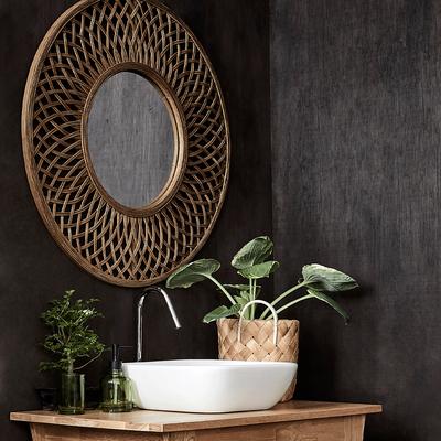 Miroir rond en rotin D80,5cm-Plumeria
