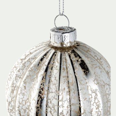 Boule de Noël en verre - argent - D8cm-JORGE