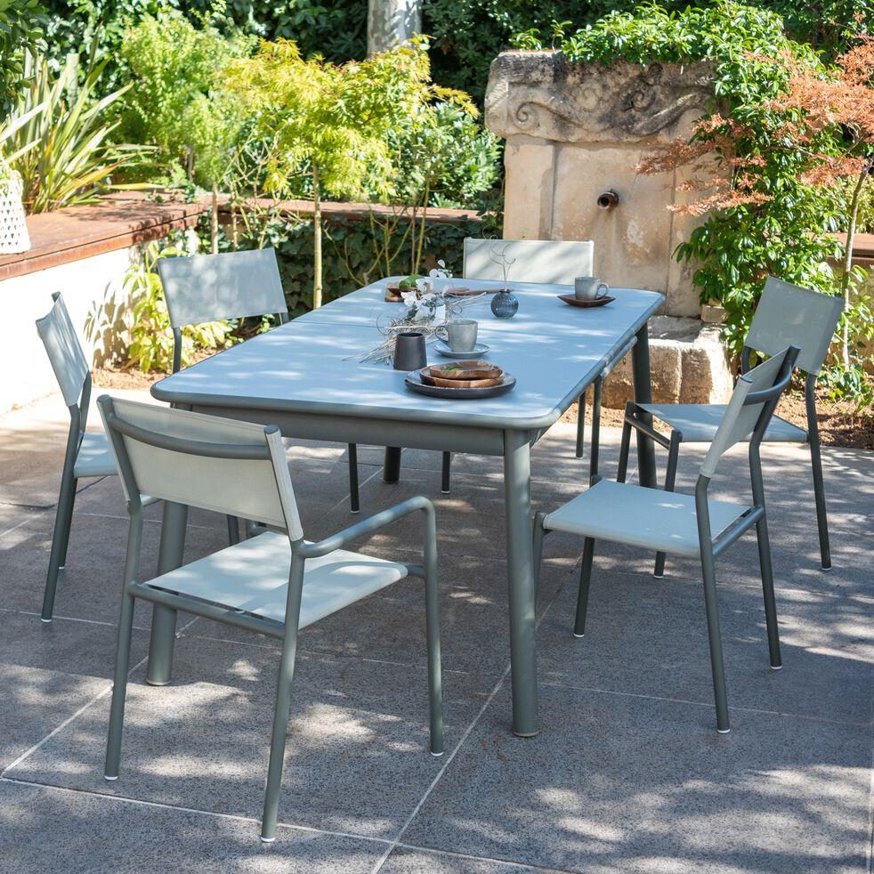 Ensemble table (6 à 10 places) en verre et aluminium & chaise de jardin en aluminium et textilène
